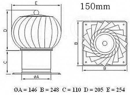 Unbekannt Turbo Kaminaufsatz L/üftungsaufsatz drehbarer Schornsteinaufsatz Kugelaufsatz 150 und 200 mm 150mm