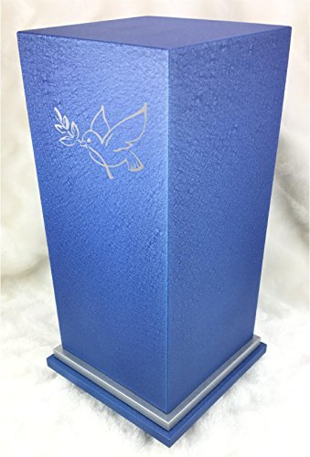 PERSONALIZED Custom Engraved Dove of Peace Cremation Urn Vault by Amaranthine Urns, made in the USA, Eaton SE Painted Silver (up to 200 lbs living weight) (Cast (Cast Metal Urn)