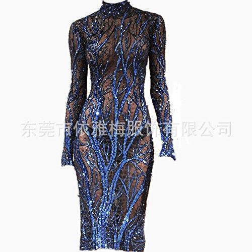 Transparence M Manches À Une Robe Longues De Vêtements Paillettes C04qBc0