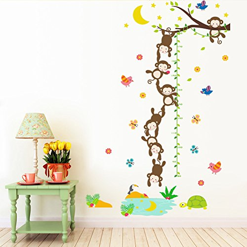Growth Chart Wall Sticker - MLM Monkey Grasp the Moon Fishes Height Scale Measure Growth Chart Wall Stickers For Kids Baby Nursery Bedroom Home Decor Decal Art
