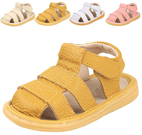 LONSOEN Toddler Boy Girl Summer Outdoor Closed-Toe Leather Sandals(Infant/Toddler),Ginger KSD002 CN19