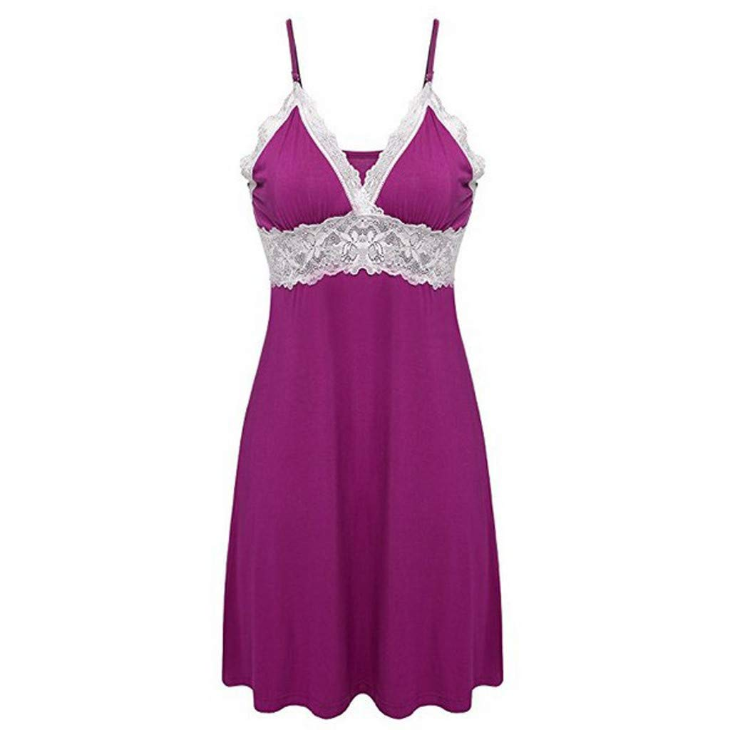 SuperUS Sleepwear Womens Chemise Nightgown Full Slip Lace Lounge Dress Purple