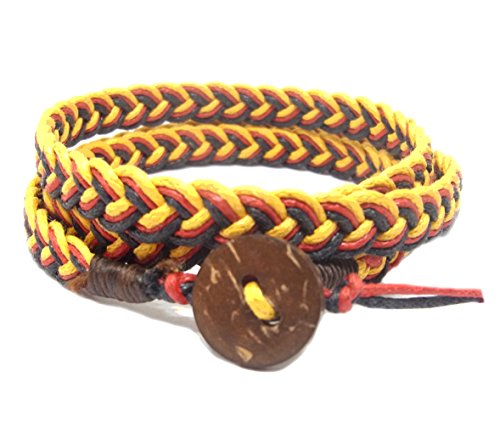 NA RIN Bracelet Men Women Classic Thai Boxing Outdoor Cotton String 3 Wrap Yellow Red Black Adjuastable