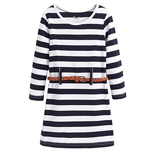 Frogwill Girls Stripe Long Short Sleeve Party Mini Casual Dresses (9-10Y, Multicoloured)