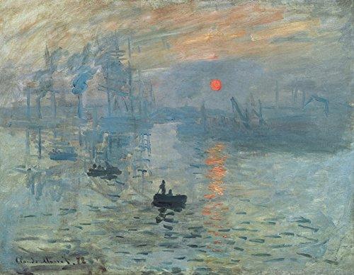 Wieco Art - Lienzo con impresion moderna y enmarcada de amanecer de Claude Monet, famosa pintura al oleo, reproduccion de arte sobre lienzo para decoracion del hogar, lona, Gris, 48x36inch (120x90cm)