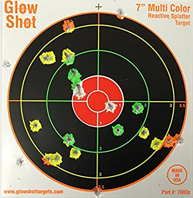 """100 pack - 7"""" Reactive Splatter Targets - GlowShot - Multi Color - See Your Hits Instantly - Gun, Rifle & Airsoft Targets"""