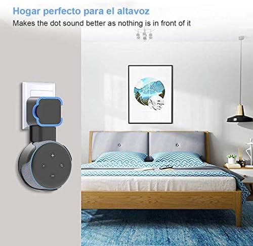 Echo Accesorios, Soporte para Estuche de Montaje en Pared Echo Dot Soporte Funda Protectora para Amazon Echo Dot (3ra generación) Accesorios Que ahorran Espacio para Altavoces domésticos sin Cables ni Tornillos (Negro) 8