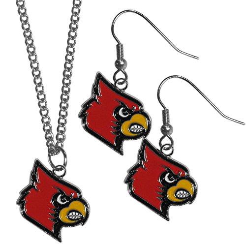Siskiyou NCAA Louisville Cardinals Dangle Earrings & Chain Necklace Set