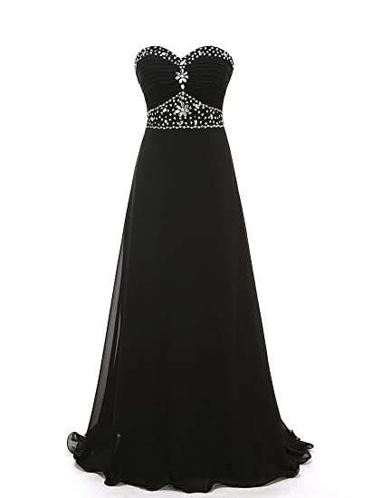 HWAN Chiffon Pleated Full Length Party Evening Dresses Bridal Prom Gowns Black UK8