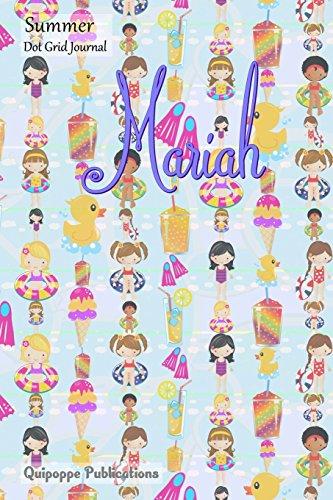 Summer Dot Grid Journal: Dot Grid Journal Notebook Diary, Summer Beach Fun Pattern Personalized Journal for Mariah Cover, 6x9