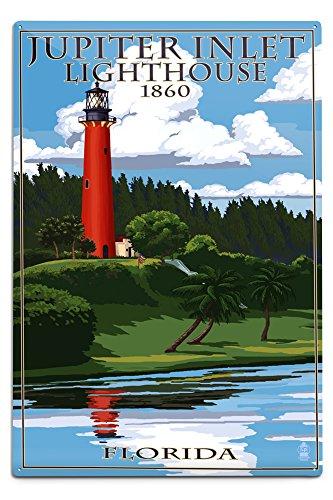 Lantern Press Jupiter, Florida - Jupiter Inlet Lighthouse (12x18 Aluminum Wall Sign, Wall Decor Ready to Hang)