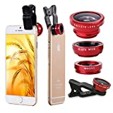Generic 3 in 1 Universal Clips Cell Phone Camera Fish Eye Lens Kit With Fish Eye Lens + 2 in 1 Macro Lens + Wide Angle Lens + Universal Clip + Carry Pouch+Microfiber Cleaning Cloth For iPhone 4S 5 5S 5C 6 itouch iPad Samsung Galaxy S3 S4 S5 Note 2/3/4 HTC Nokia Sony Cell Phone Smartphone (Red)