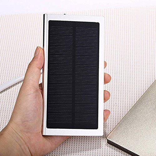 Price comparison product image TAVLAR 100000mAh 2 USB Portable Battery Charger Solar Power Bank Silver