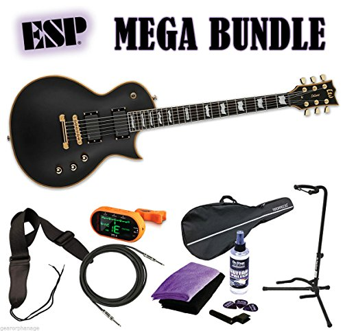 ESP LTD EC-1000 VB Vintage Black Deluxe Series EMG *NEW* FREE MEGA BUNDLE 2 (Esp Ltd Ec 1000 Deluxe Vintage Black)