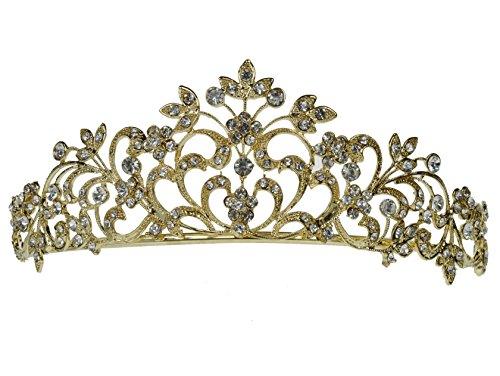 Princess Gold Bridal Wedding Rhinestone Crystal Tiara