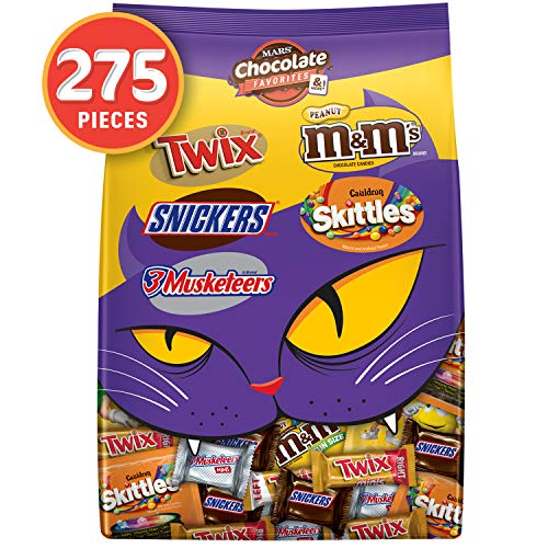 M&M'S Peanut, SNICKERS, TWIX, 3 MUSKETEERS & SKITTLES Cauldron Halloween Chocolate Candy Variety Mix, 96.12-Ounce Bag. 275 Pieces