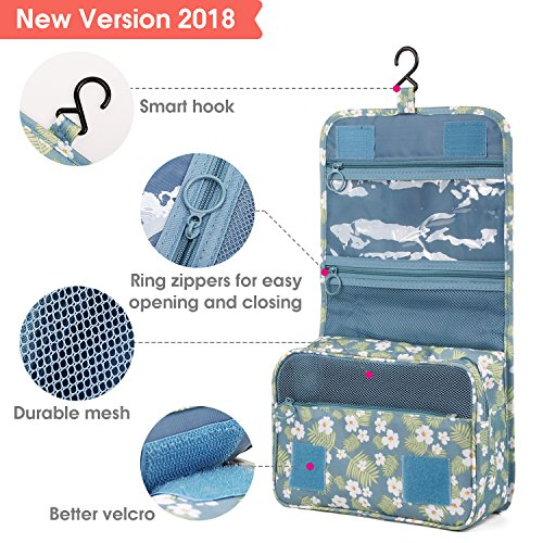 Hanging Travel Toiletry Bag Cosmetic Make up Organizer for Women and Girls Waterproof (Tropical Flower)