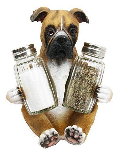 Adorable Hugging Fawn Boxer Dog Decorative Glass Salt Pepper Shakers Holder Resin Figurine