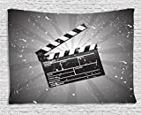 Movie Theater Tapestry, Clapper Board on Retro Backdrop with Grunge Effect Director Cut Scene, Wall Hanging for Bedroom Living Room Dorm, 60 W X 40 L Inches, Grey Black White