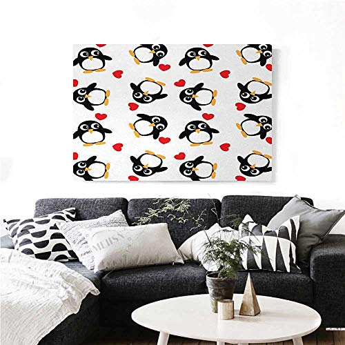 "homehot Sea Animals Canvas Wall Art for Bedroom Home Decorations Penguins with Heart Shapes Lovely Sweet Romantic Valentines Day Art Stickers 36""x32"" Black White Red Mustard"