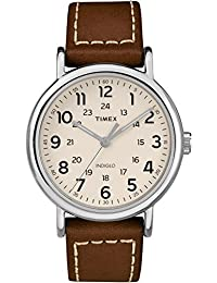 Timex Men's Casual Weekender 40mm TW2R42400GP Cream Dial and Brown Leather Strap Watch