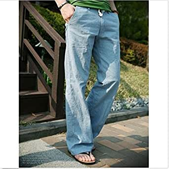 Mens Cotton Linen Casual String Breathable Loose