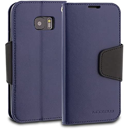 Galaxy S7 Case, ModeBlu [Classic Diary Series] [Navy] Wallet Case ID Credit Card Cash Slots Premium Synthetic Leather [Stand View] for Samsung Galaxy S7 Sales
