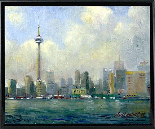 "Frame USA CN Tower, Toronto-HALGRO111618 Print 12""x14.75"" by Hall Groat II, 12x14.75, Black Metal Frame"