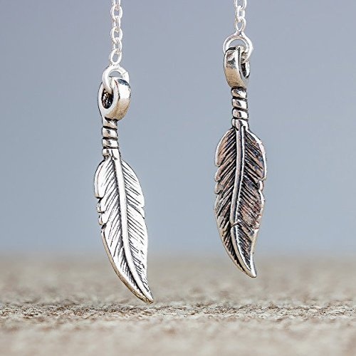 Feather Threader Chain Earrings in Sterling Silver - Sterling Silver Threader Ring