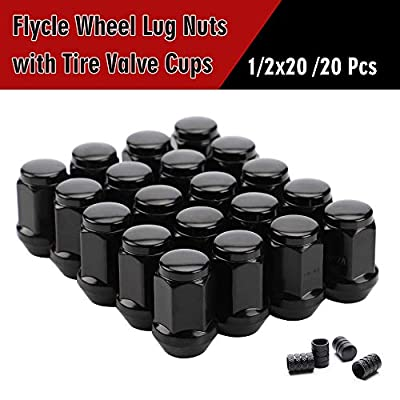 20PCS 1.38 inch Black 1/2-20 Closed End Bulge Acorn Lug Nuts - Cone Seat - 19mm Hex Wheel Lug Nut for Dodge Ford Mustang Jeep Cherokee Liberty Wrangler: Automotive