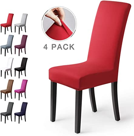 coprisedie con schienale 4 pezzi Elasticizzato Copertura della sedia bi elastico per una misura universale, Coppia spandex Coprisedia molto facile da