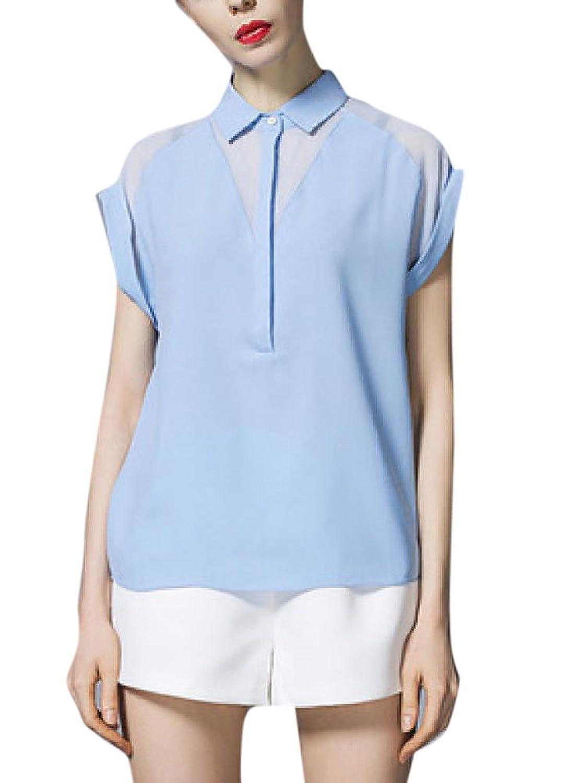 Friendshop Lapel Short Sleeve Casual Cute Besiness Blue Blouse Tank Top Shirt