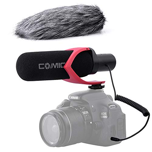 (Comica CVM-V30PRO R 3.5mm on Camera Microphone Directional Condenser Shotgun Video Microphone Interview Mic for Canon,Nikon, Sony,Panasonic,Fuji,Olympus DSLR Cameras(with Wind Muff))