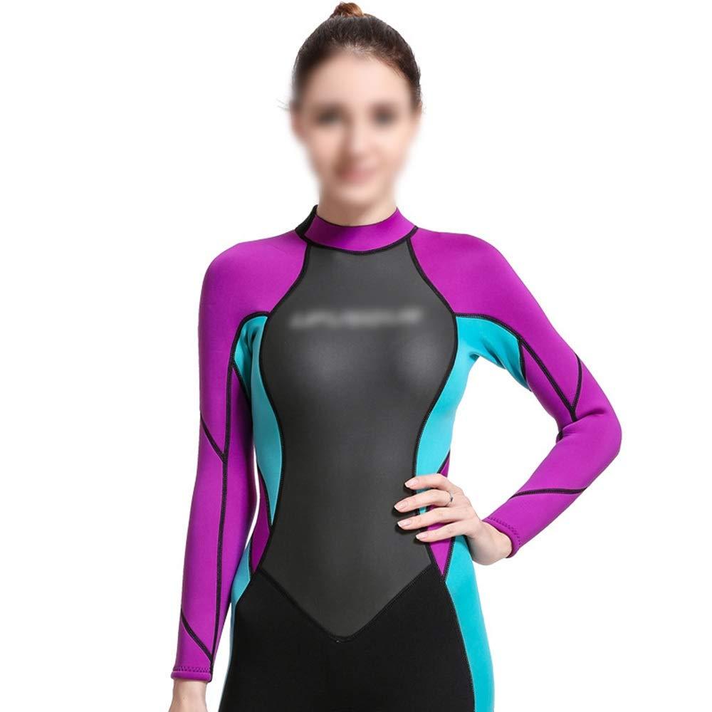LilyAngel 3ミリメートルネオプレンダイビングスーツ女性シャム冷たい暖かいダイビングスーツ 紫の 青 XL