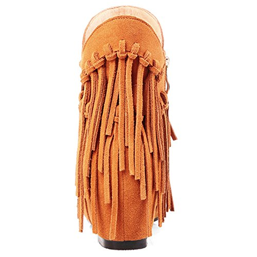 Toe Suede Tassels Women's Handmade Party Round Leather Cute Classy Mid Heel With Brown Boots Nine Ankle Seven Xzqx5XZ