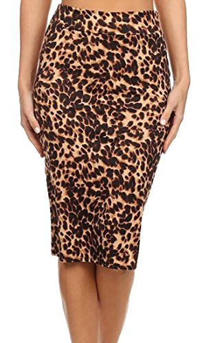 MLG Women's High Waisted Skinnt Leopard Print Bodycon Pencil Skirts 1 L (Skirt Pencil Leopard Print)