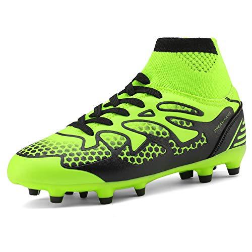 DREAM PAIRS Big Kid 160858-K Lemon Green Black Fashion Soccer Football Cleats Shoes Size 5 M US Big Kid