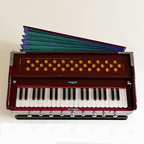 Harmonium Musical Instrument, Maharaja Musicals, 9 Stops, 3 1/2 Octave, Double Reed, Coupler, Dark Mahogany, Standard, Book, Padded Bag, A440 Tuned, Indian Sangeeta Harmonium (PDI-43)