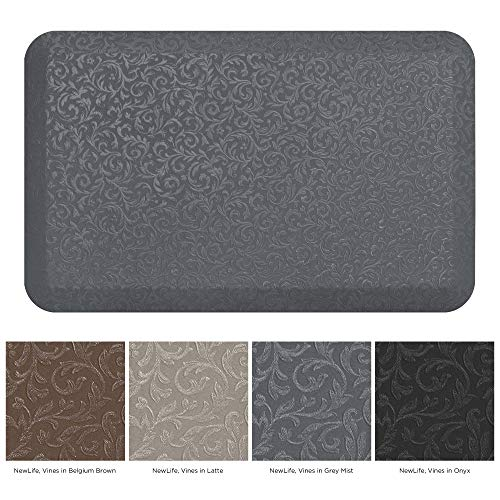 NewLife by GelPro Professional Grade Anti-Fatigue Kitchen & Office Comfort Mat, 20x32, Vine Grey ¾