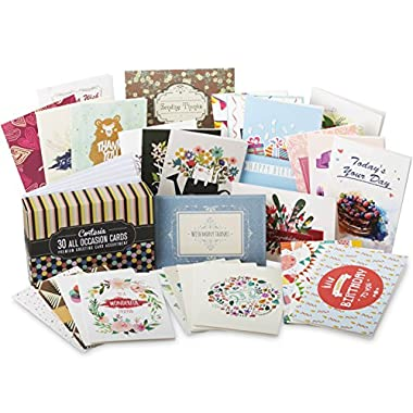 Cortesia All Occasion Premium Greeting Cards Assortment - 30 UNIQUE DESIGNS, Box set incl. Envelopes, Birthday Cards, Thank You Notes, Thinking of You, Get Well, Congratulations, Anniversary, Sympathy