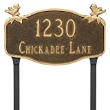Montague Metal PCS-0102S2-L-BRG Chickadee Address Sign Plaque with Lawn Stake, 10.25'' x 17'', Brick Red/Gold