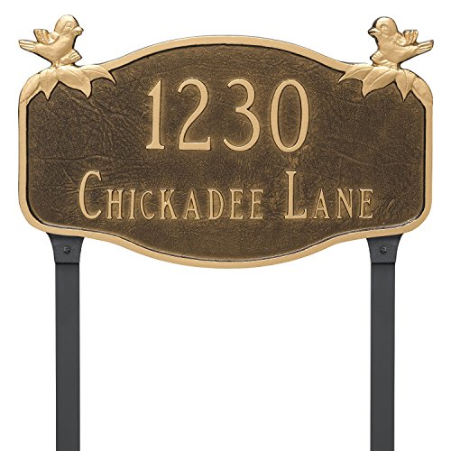 Montague Metal PCS-0102S2-L-BC Chickadee Address Sign Plaque with Lawn Stake, 10.25
