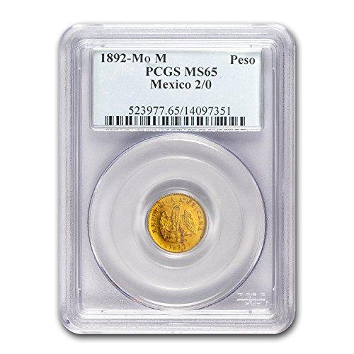 1892 MX 0-Mo Mexico Gold Peso MS-65 PCGS Gold MS-65 PCGS (Gold 2 Peso)