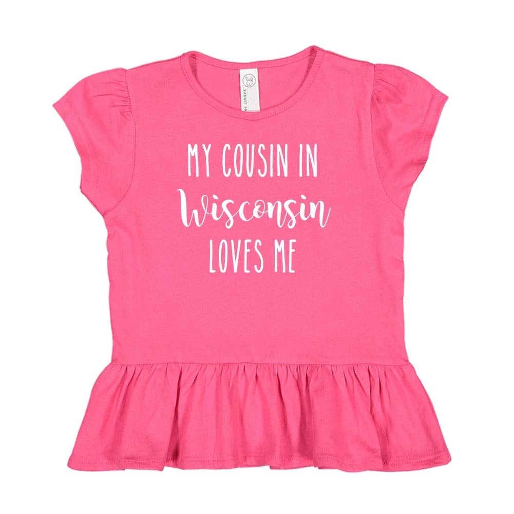 Toddler//Kids Ruffle T-Shirt My Cousin in Wisconsin Loves Me