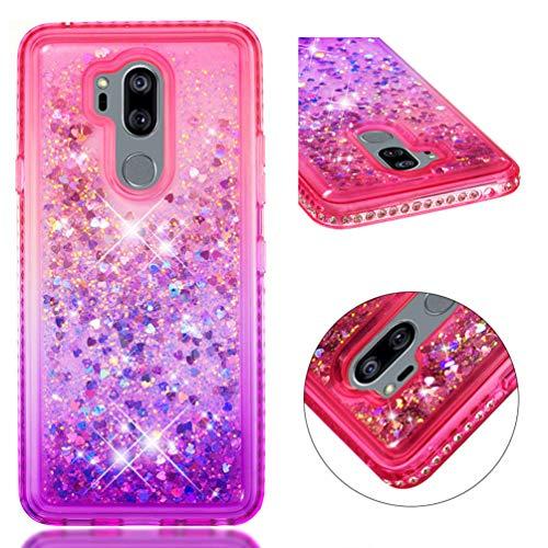 (LG G7 Case, LG G7 ThinQ Case, Gradient Series Diamond Liquid Glitter Case Sparkle Moving Flowing Love Heart TPU Shockproof Bumper ZSTVIVA for LG G7/LG G7 ThinQ - Pink-Purple)