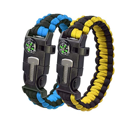 Trifetcrow (2 PCS Survival Bracelet, Emergency Kit Flint, Fire Starter, Compass, Whistle, Lade, Detachable Paracord, Outdoor, Camping, Climbing, Forest, Fishing, Hunting Gear (1Blue-1Yellow)