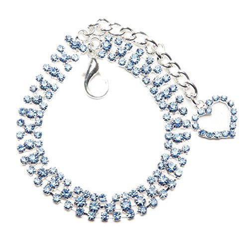 BingPet BB4008 Designer Crystal Diamond Pet Jewelry Rhinestone Dog Cat Necklace with Crystal Heart - Light Blue Extra Small