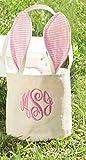 Mud Pie Canvas Seersucker Bunny Basket (Pink)