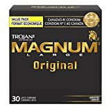 TROJAN Magnum Large Size Lubricated Latex Condoms, 30 Count