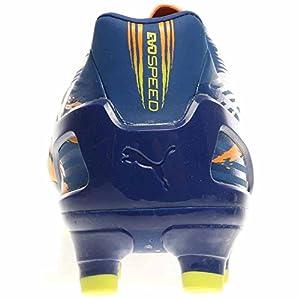 PUMA Men's Evospeed Graphic 3.2 Firm Soccer Shoe,Monaco Blue/Sulphur Springs/Bright Marigold,8.5 M US
